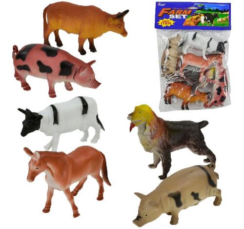Kit De Animais Da Fazenda Bichos 6 Peças Tamanho Grande H636