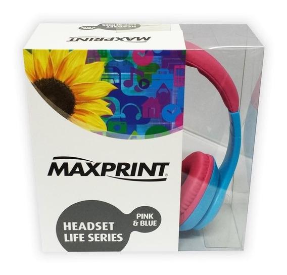 Fone De Ouvido Headphone Maxprint Life Series Azul/rosa