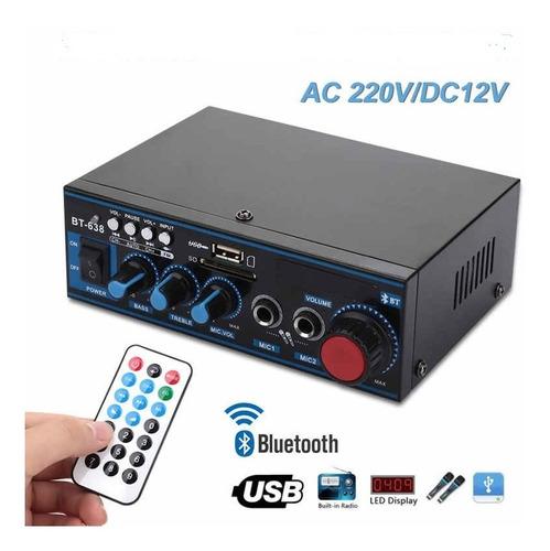 Mini Amplificador Bt-638 Bluetooth Digital Hifi 2ch