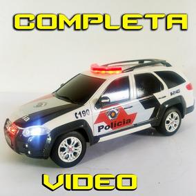 Miniatura De Policia , Viatura Controle Sirene Luzes 1/18