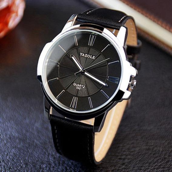 Relógio Social Masculino Yazole Luxo Social Quartz Em Couro