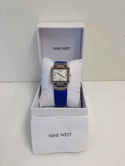Relógio Nine West Clássico Pulseira Couro Azul