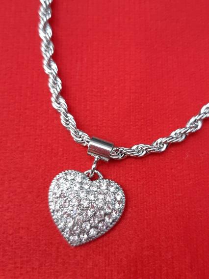 Conjunto Pulseira E Brinco Prateado Coração Com Zirconia
