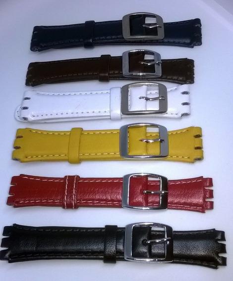 Pulseira Swatch Couro *irony* Coloridas 17 E 19mm