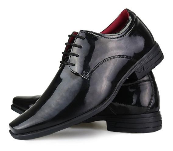 Sapato Social Masculino Verniz Cadarço Original Super Leve