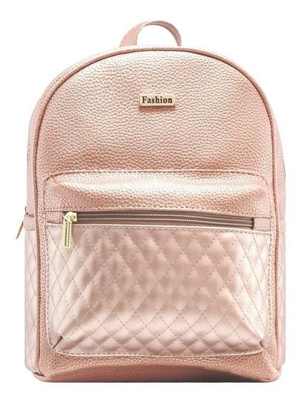 Mochila Dama 3270 Oro Rosa Moda Bolso Mujer Bolsa Env Gratis