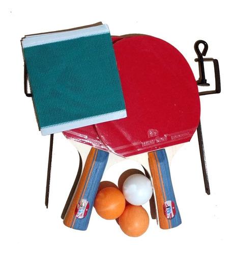Paletas Ping Pong Marfed X2 + Red + Soporte + 3 Pelotitas
