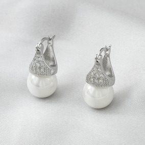 Brinco De Prata Lady Di Com Zircônia Cristal E Pérola Shell