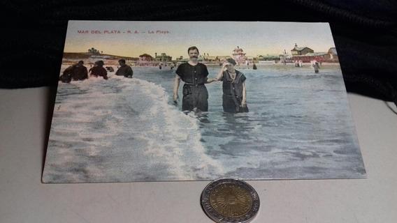Mar Del Plata Foto Postal Antigua Playa