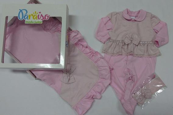 Kit Saida De Maternidade Paraiso Bebê Menina Verao Ref 7060