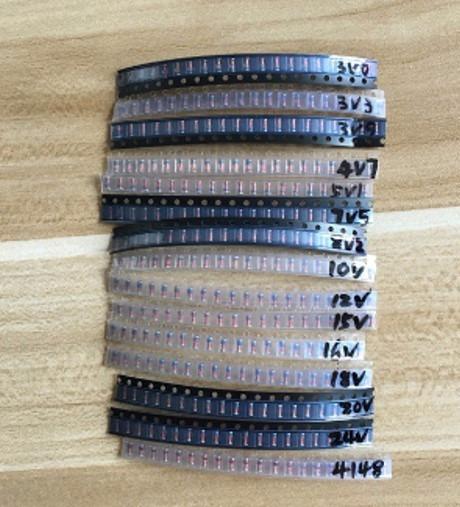 300 Pçs Diodos Zener Smd 1/2 W 3v A 24 V 15 Tipos