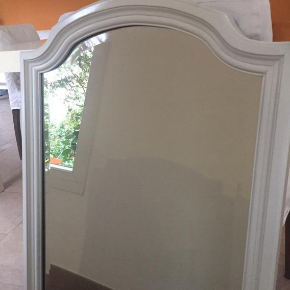 Espejo Antiguo Biselado 90x56 Pintado En Blanco