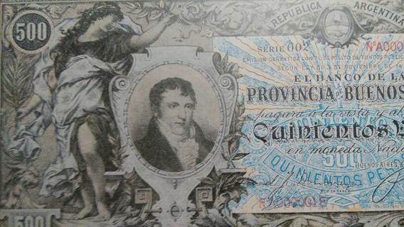 Antiguo Billete Banco Provincia 500 Belgrano Facsimil