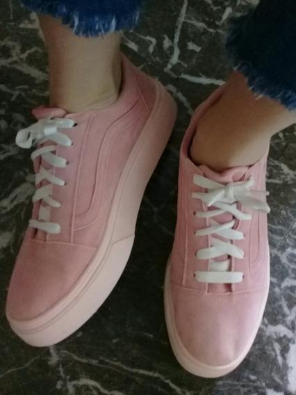 Zapatilla Rosa Mujer Tipo Vans Sneakers