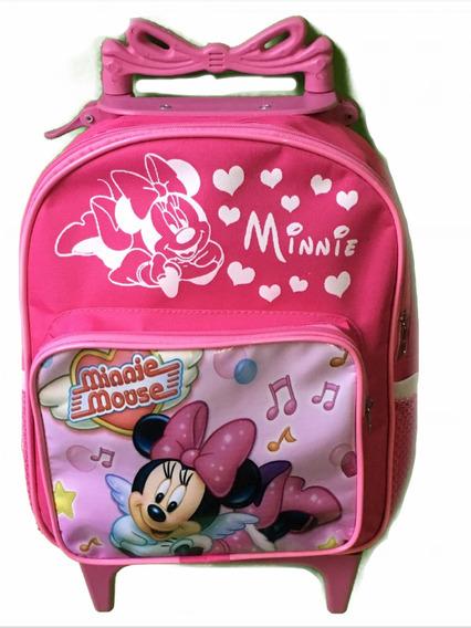 Mochila De Rodinhas Minnie Mouse Minie Rosa Puxador Lacinho