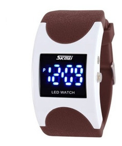 Relogio Skmei Led Digital Azul Pulseira Marron