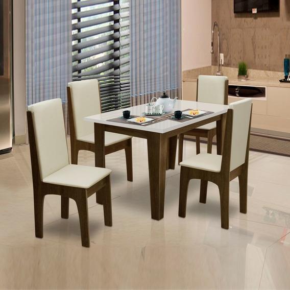 Conjunto De Mesa Miami 1,20m 4 Cadeiras Castanho / Off White