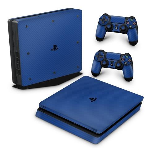 Imagem 1 de 3 de Skin Ps4 Slim Adesivo Playstation Fibra De Carbono Azul