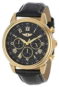 Invicta I 18k Gold-plated Stainless Steel Watch With Black L