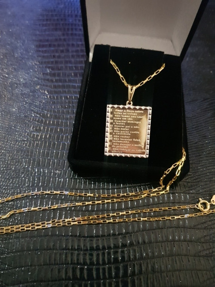 Cartier Quadradinha Banhada A Ouro,c Pingente 10 Mandamentos