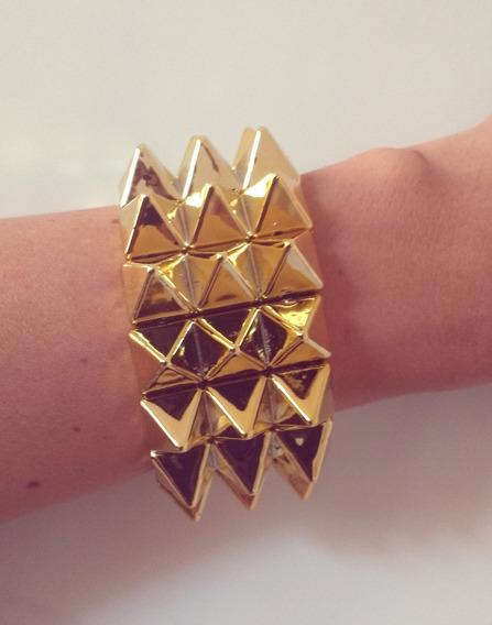 Kit Atacado Com 12 Bracelete Dourado Spike Acrilico