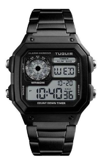 Relógio Unissex Tuguir Tg1335 Preto Original Com Nota Fiscal