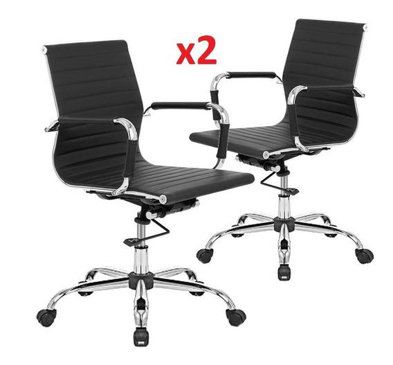 Sillon Ejecutivo Gerencial Aluminium Oficina Escritorio Cromado Excelente Calidad Pack X2 + Envio Gartis Y Cuotas