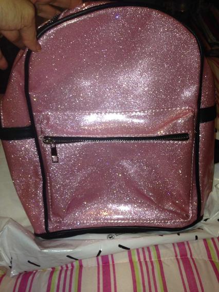 Mochila Glitter Rosa Nueva Con Bolsillos
