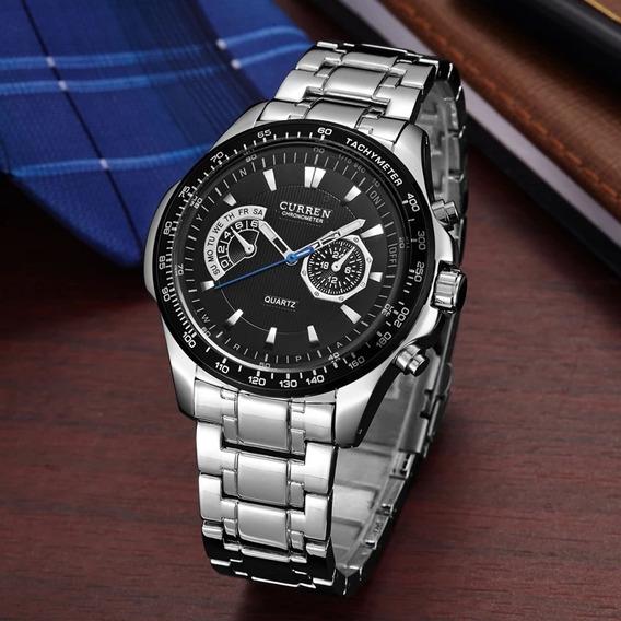 Relógio Masculino Original Curren Pulseira E Caixa Aço Inox