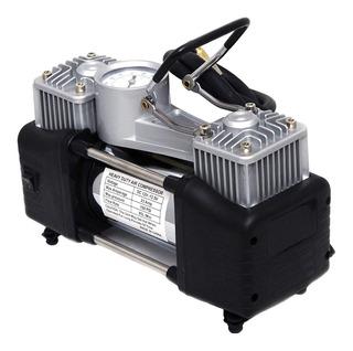Compresor Aire Doble Cilindro + Linterna Inflador Camionetas