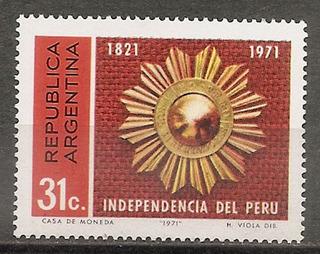 Argentina 901 Gj 1567 Mint 150º Independencia De Perú A 1971