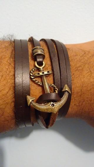 Pulseira Masculina Feminina Couro Legítimo Bracelete Âncora