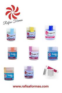 Kit Brilho : 8 Pó Sugar Art Para Decoração + Pulverizador