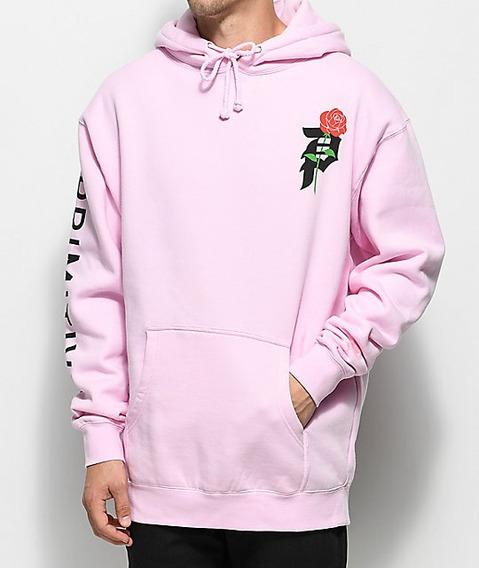Casaco Moletom Masculino Blusa De Frio Rosa P Frente E Costa
