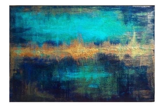 Quadro Abstrato Azul Tifany Para Sala E Quarto