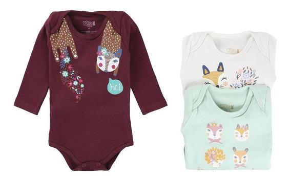 Kit Body Bebê Em Suedine 03 Peças Menina - Kiko Baby