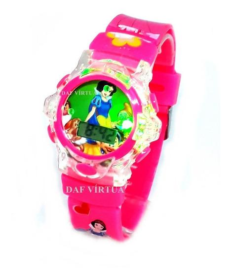 Relógio Branca De Neve Princesa Infantil Som Luzes Original