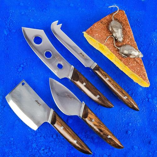 Set 4 Cuchillos Queso Acero Inox Y Madera Guayubira Exclusiv