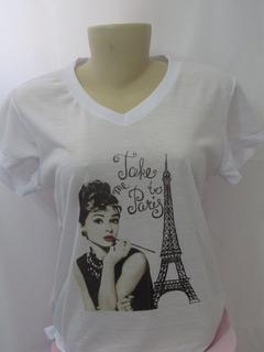 Camiseta Baby Look Feminina Paris / Viagem