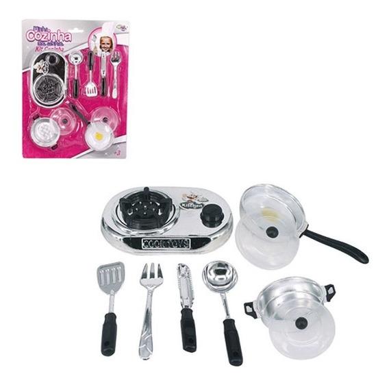 Kit Cozinha Infantil Cromado 9 Pecas Com Fogao Panela Tudo