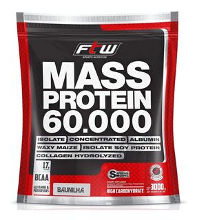 Mass Protein 60.000 Ftw Hipercalórico 3kg - Baunilha