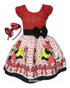 Vestido Minnie Vermelha + Tiara Brinde