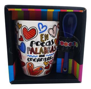 Taza Ceramica Expresso Con Cuchara Regalo Amor Amistad 6