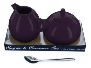 Bulk Buys 8 Oz. Purple Stoneware Sugar &