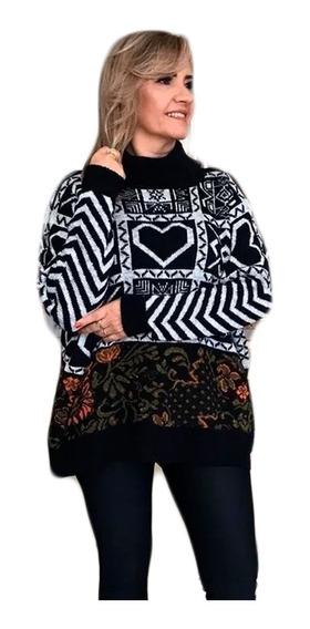 Blusa Tricot Poncho Manga Comprida Feminina Frio Gola Alta
