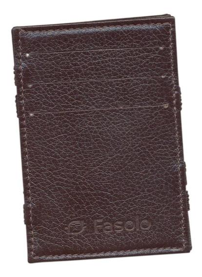 Carteira Mágica Dinheiro Cartões Couro Legítimo Fasolo U021