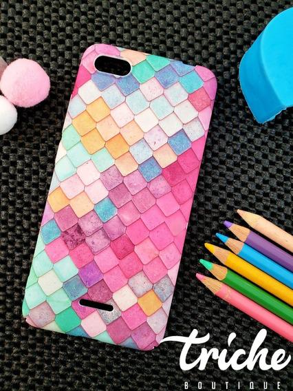 Funda Case Mosaico Colores Sirena Dama Xiaomi Redmi 6a