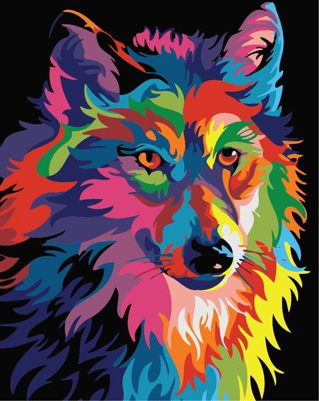 Pinta Por Números - Lienzo Lobo Colorful