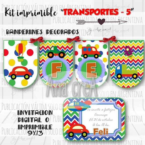 Kit Imprimible Transportes Autitos Mod. 5- Textos Editables