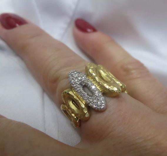 Anel Vivara Machetado Com Muitos Diamantes Ouro Amarelo